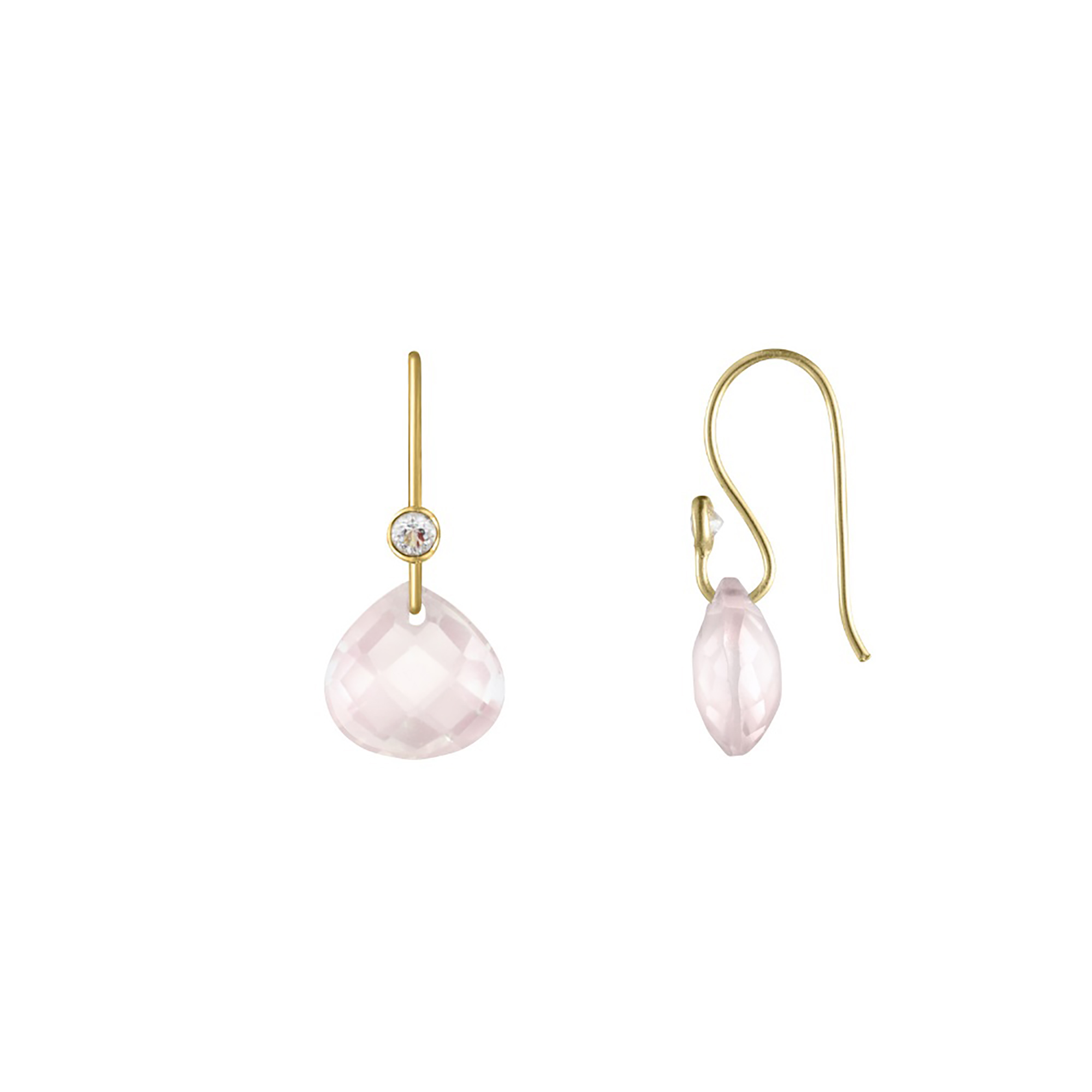 Dew Drop Earrings - Rose Quartz