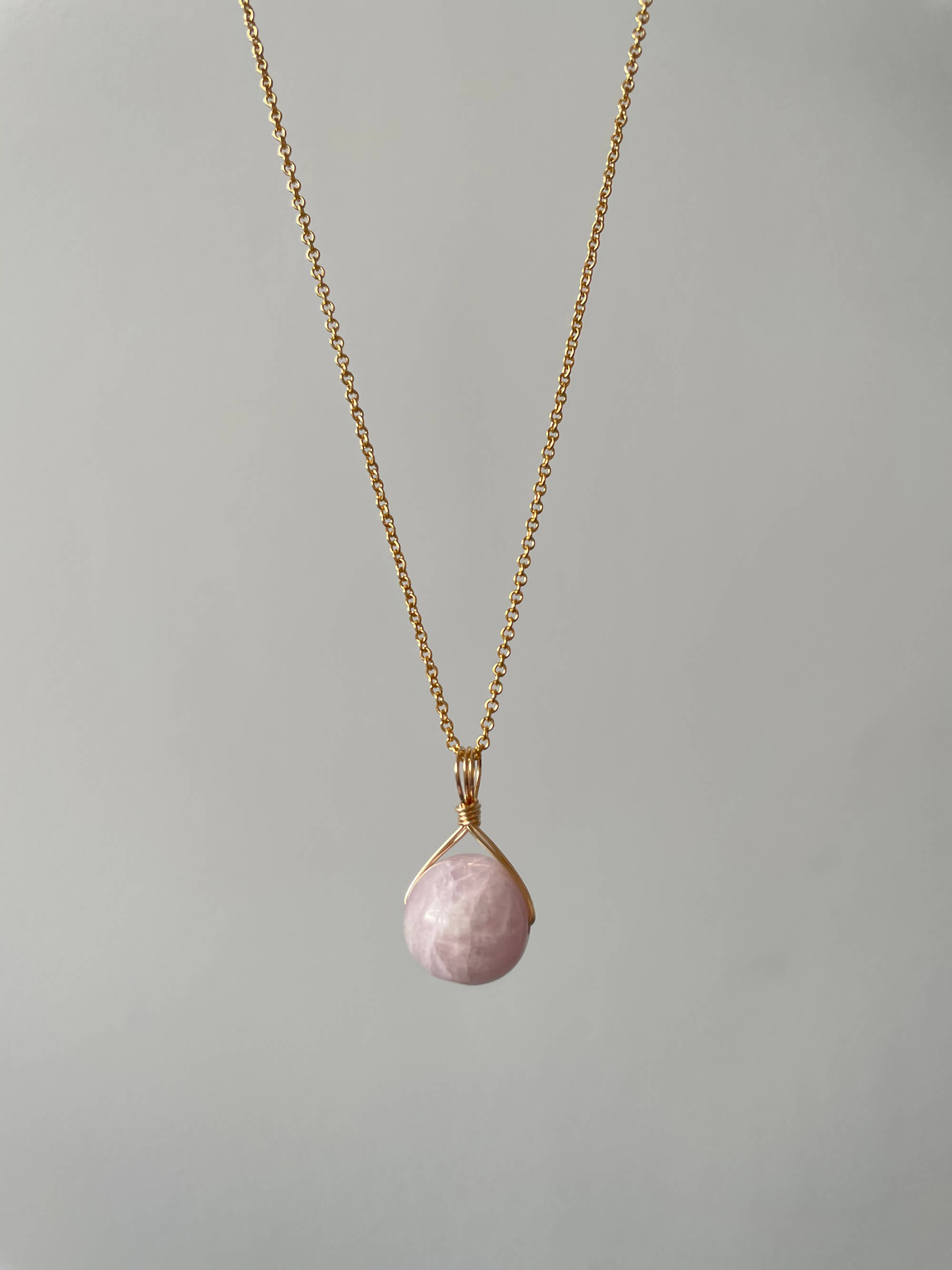 Pink Kunzite Orb (Gold Filled)