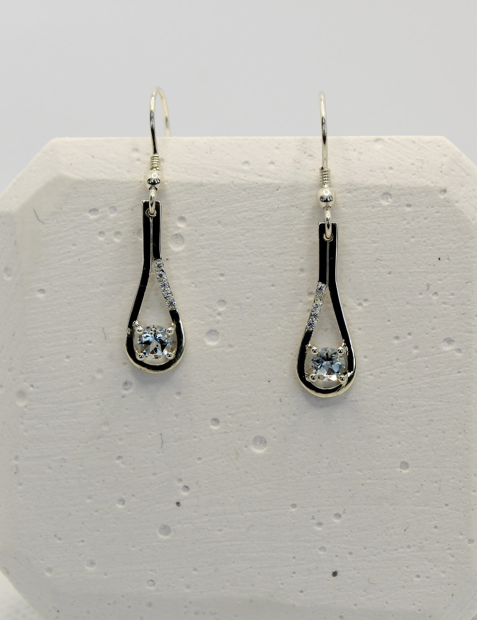 Silver Earrings with Aquamarine and White Diamonds