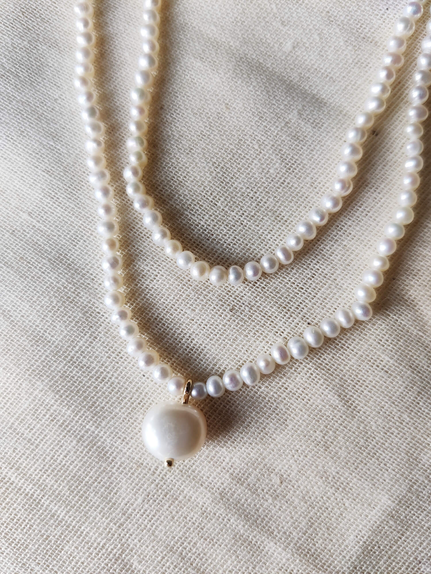 Double Pearl Choker Necklace with Baroque Pendant
