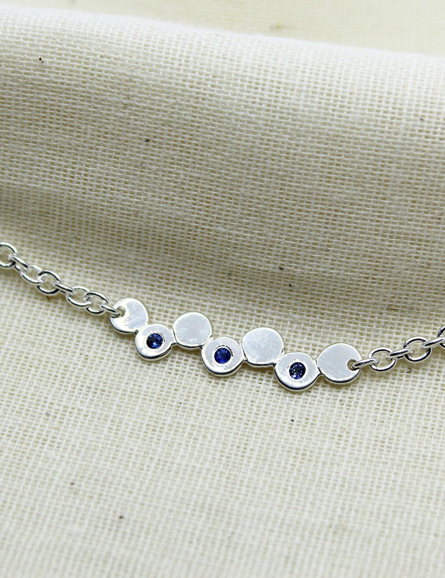 Silver Bracelet with Sapphire Effervescence Style
