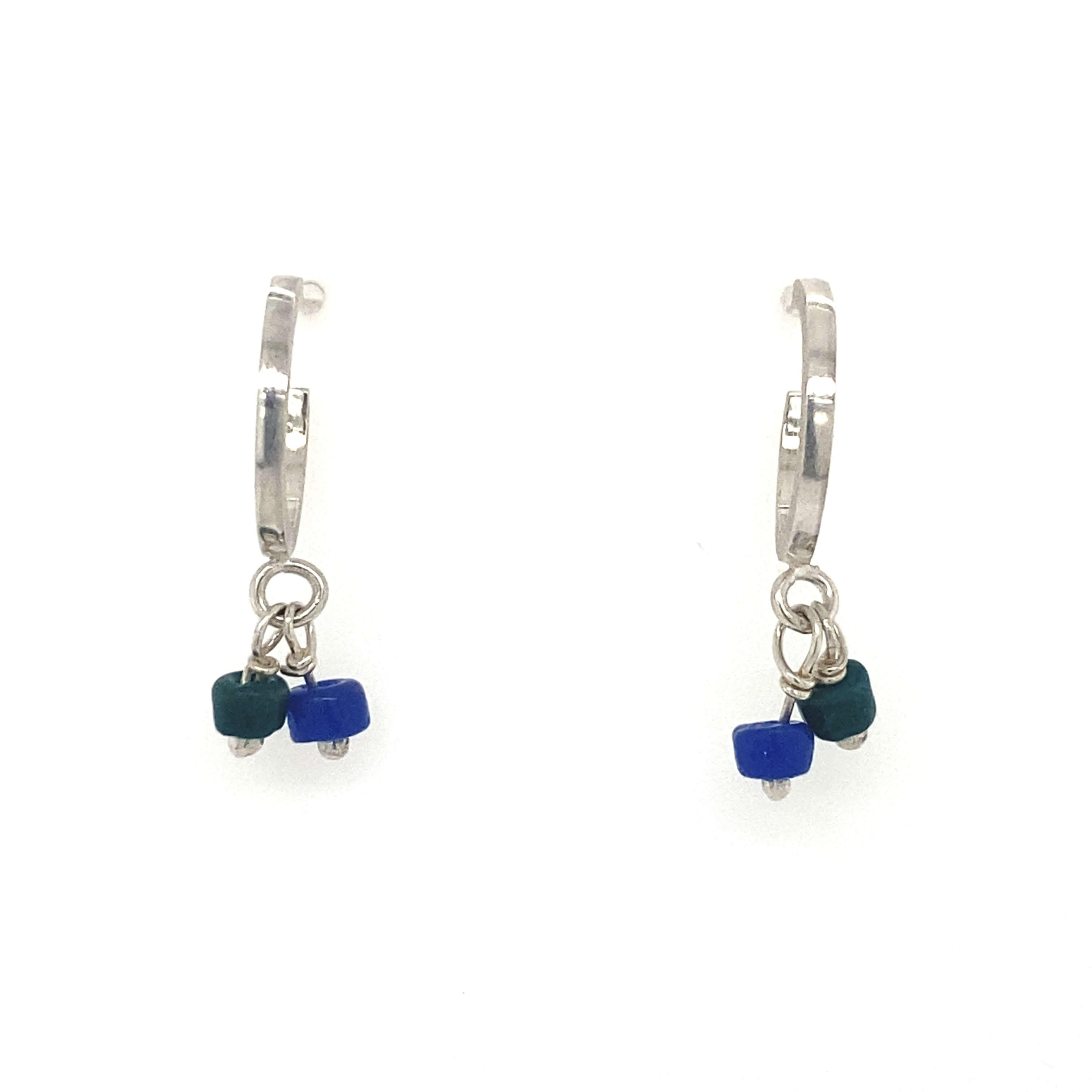 Small hoops Earrings - blue