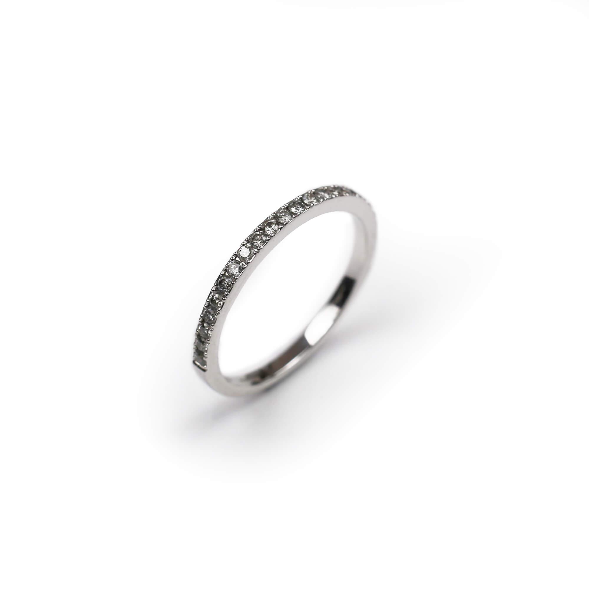 Grey diamond and white gold band