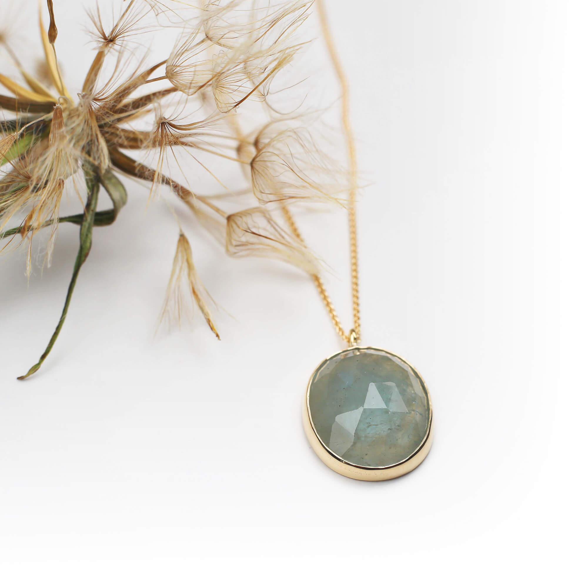 Rose cut aquamarine and gold pendant