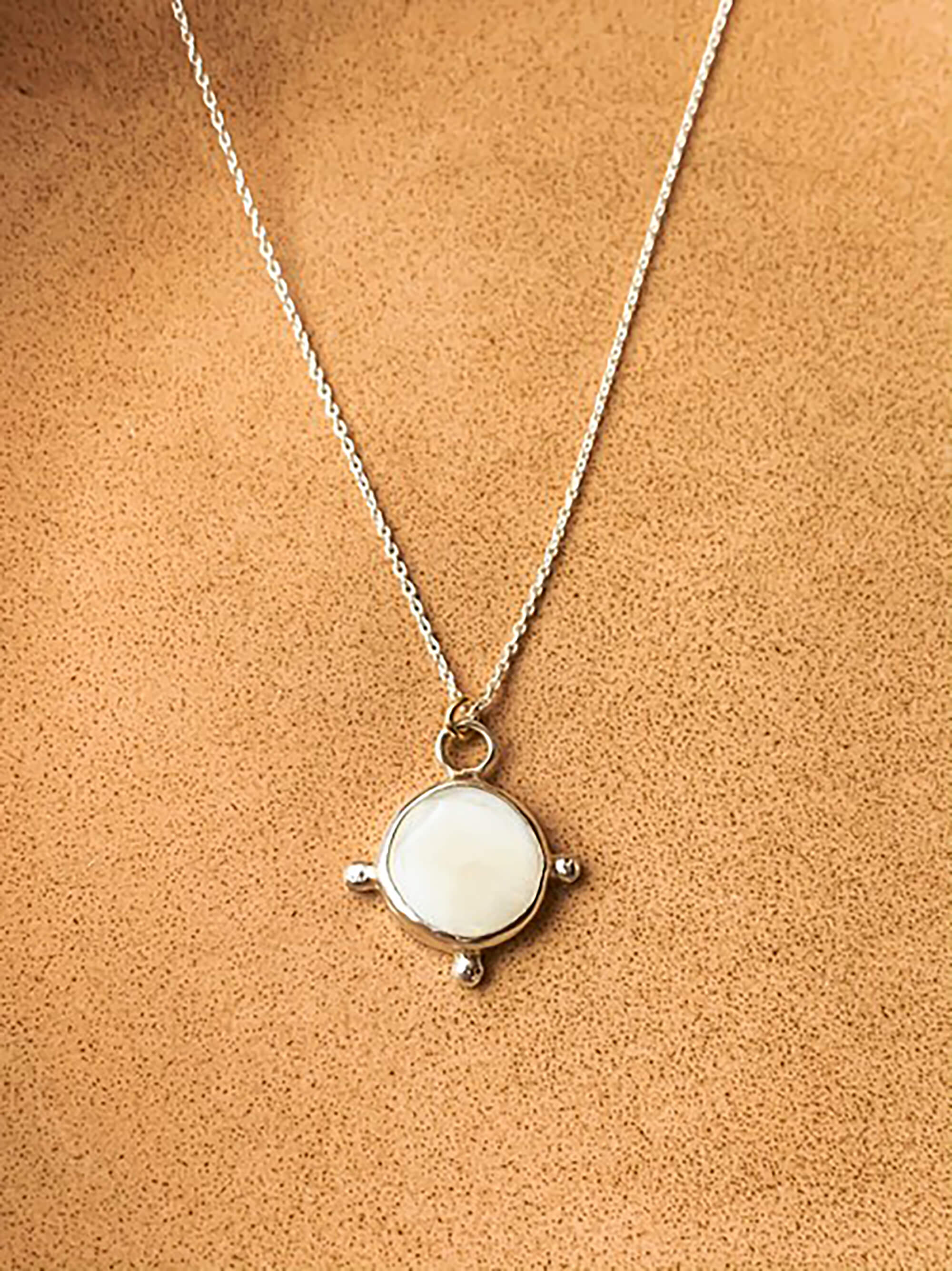 Larissa Necklace - Eco Silver with Mother of Pearl