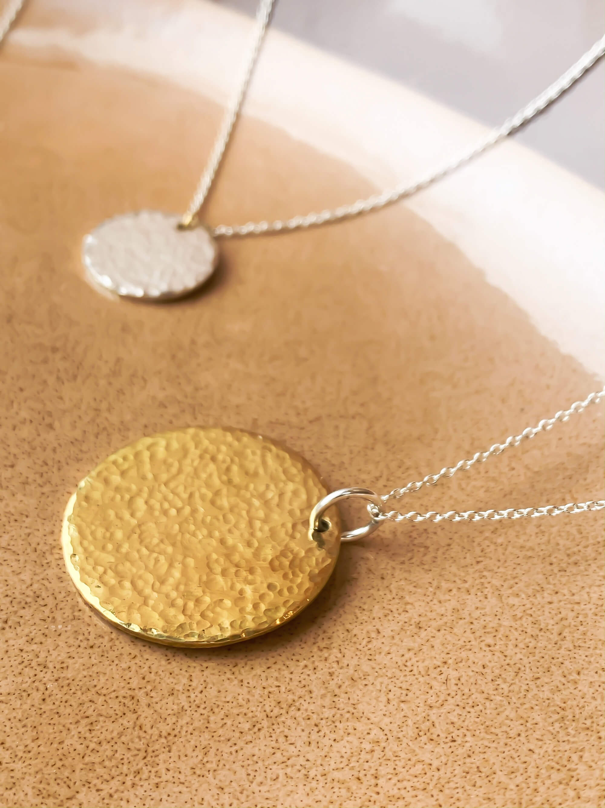 Hala Necklace - Eco Silver with Brass (Curved Disc)