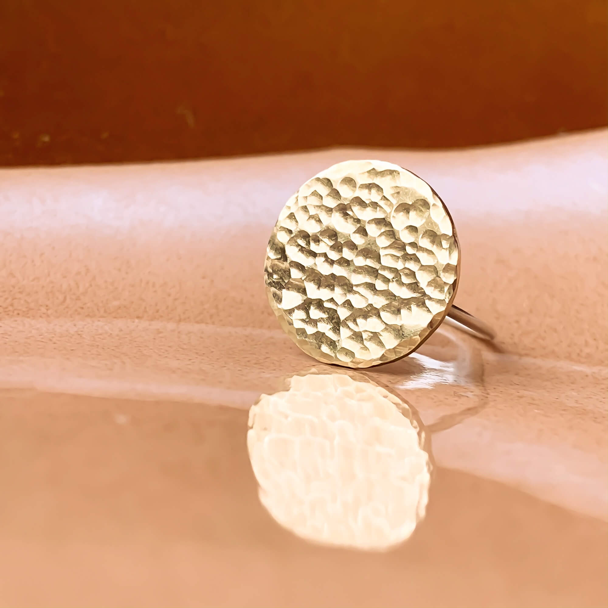 Gold Moon Ring - Eco Silver with Brass